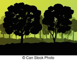 Vector Clip Art of Forest Background Outline.