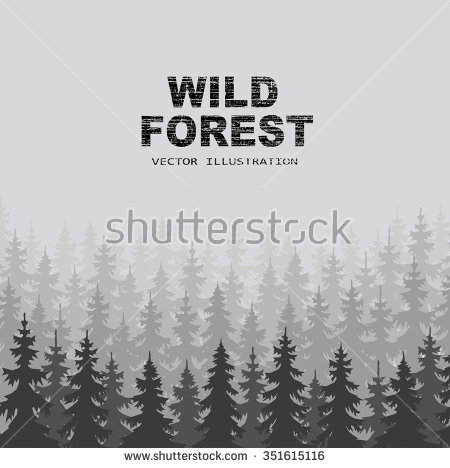 Vector Set Forest Trees Outlines Great Stock Vector 355850033.