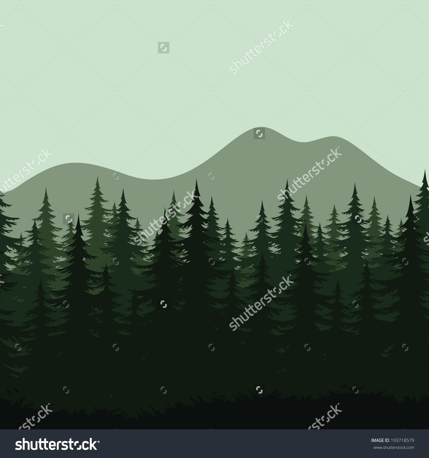 Seamless Background Mountain Landscape Night Forest Stock Vector.