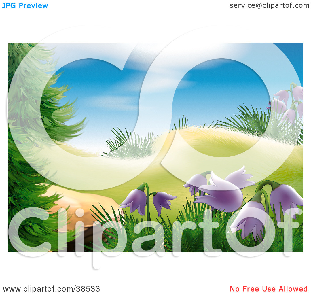 Clipart Illustration of a Patch Of Wild Purple Bell Flowers.