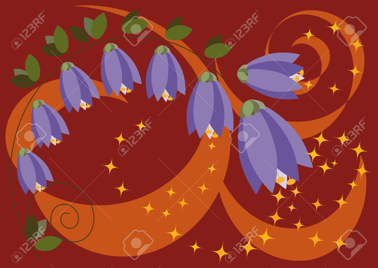Stylized Forest Bells On Brown Background With Curls Royalty Free.