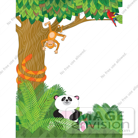 Clip Art Graphic of a Parrot Watching A Silly Monkey Hanging.