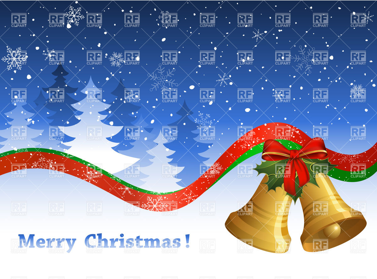 Christmas postcard with bells and winter forest Vector Image #5521.