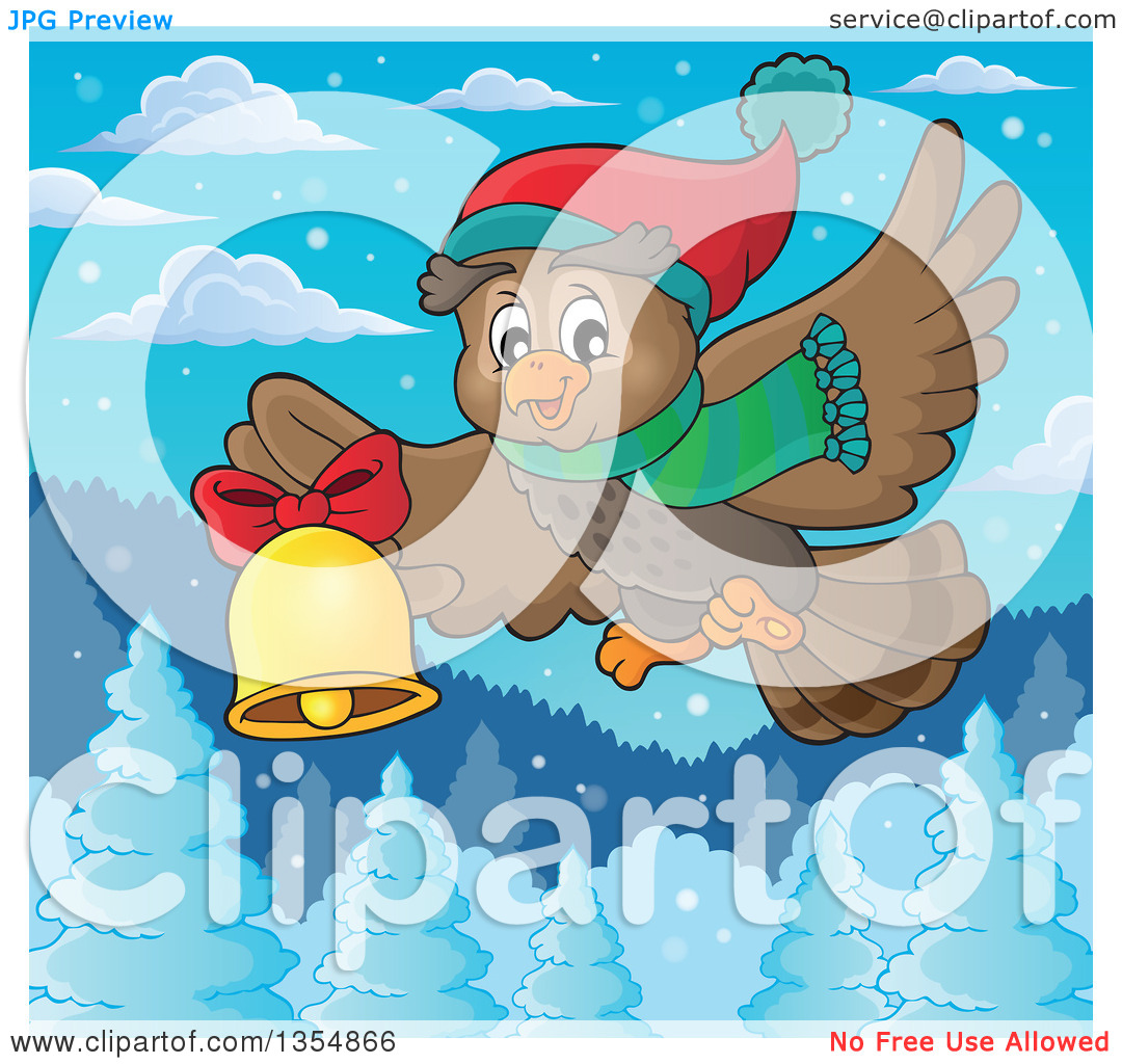 Clipart of a Cartoon Christmas Owl Wearing a Winter Scarf and Hat.