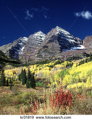 Stock Photograph of Maroon Bells Peaks White River National Forest.