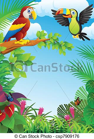 Clip Art Vector of Birds in the forest.