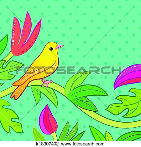 Clipart of Bright yellow, orange little tropical forest bird and.