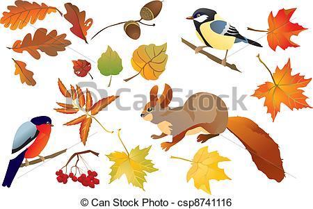 Clip Art Vector of Set of isolated autumn forest leafs and little.