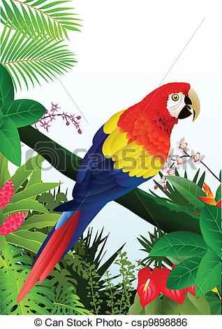 Clip Art Vector of Macaw bird in the tropical forest.