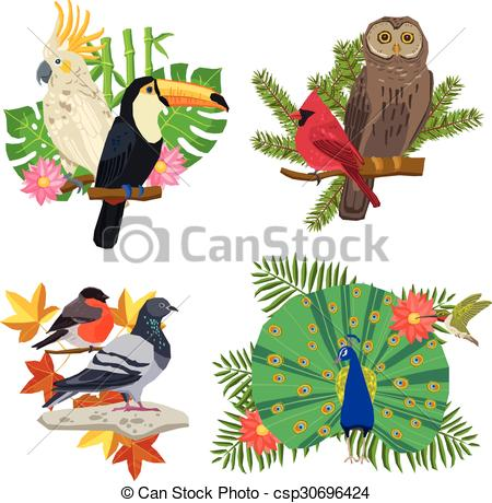 Vector Illustration of Birds And Flowers Set.
