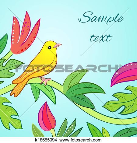 Clipart of Bright yellow, orange little tropical forest bird.
