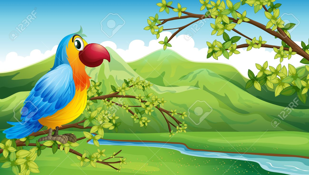Illustration Of A Colorful Bird Near The Mountain Royalty Free.