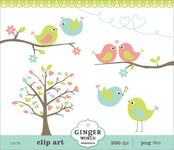 Spring Turquoise Kissing Love Birds Forest clipart digital file.