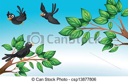 Vector Clipart of Three birds at the forest.