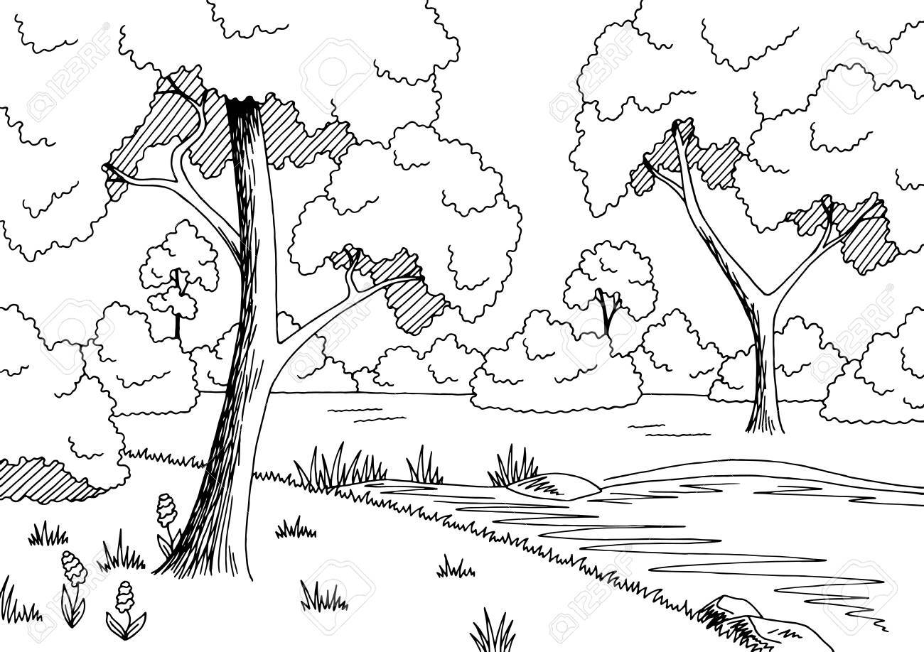 Forest black and white clipart » Clipart Station.
