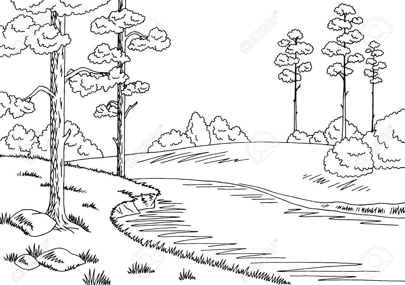 Forest river graphic black white landscape sketch illustration...