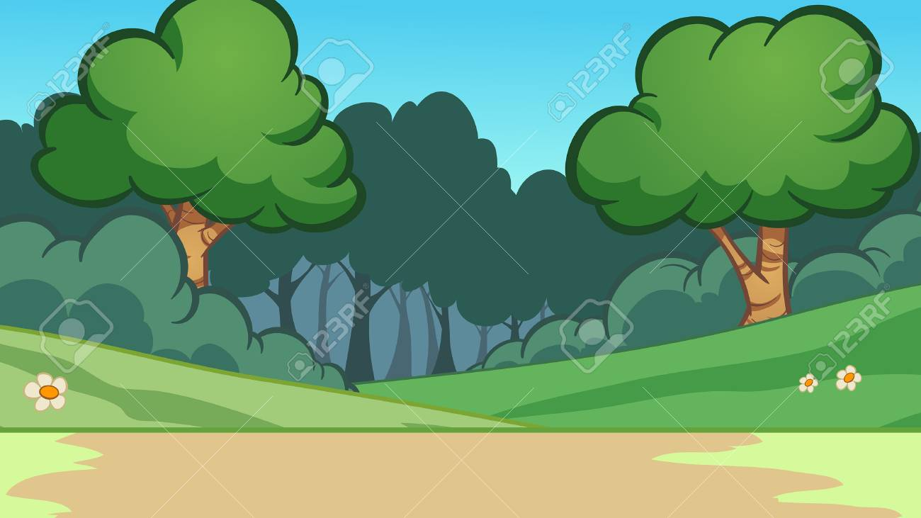 Cartoon forest background. Vector clip art illustration with...