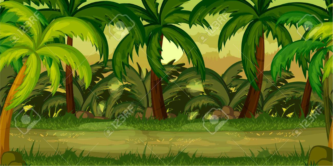 forest landscape, never ending vector nature background with...