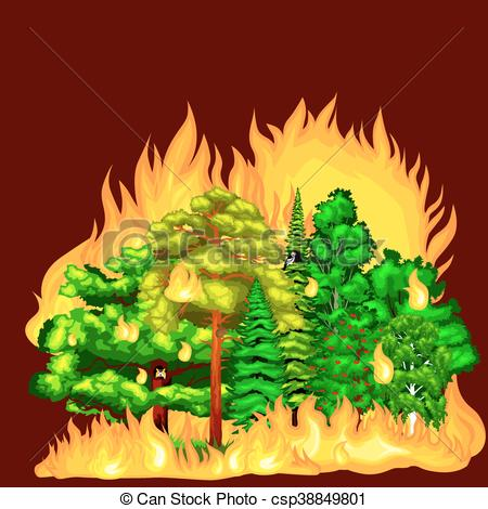 Vector Clipart of Forest Fire, fire in forest landscape damage.
