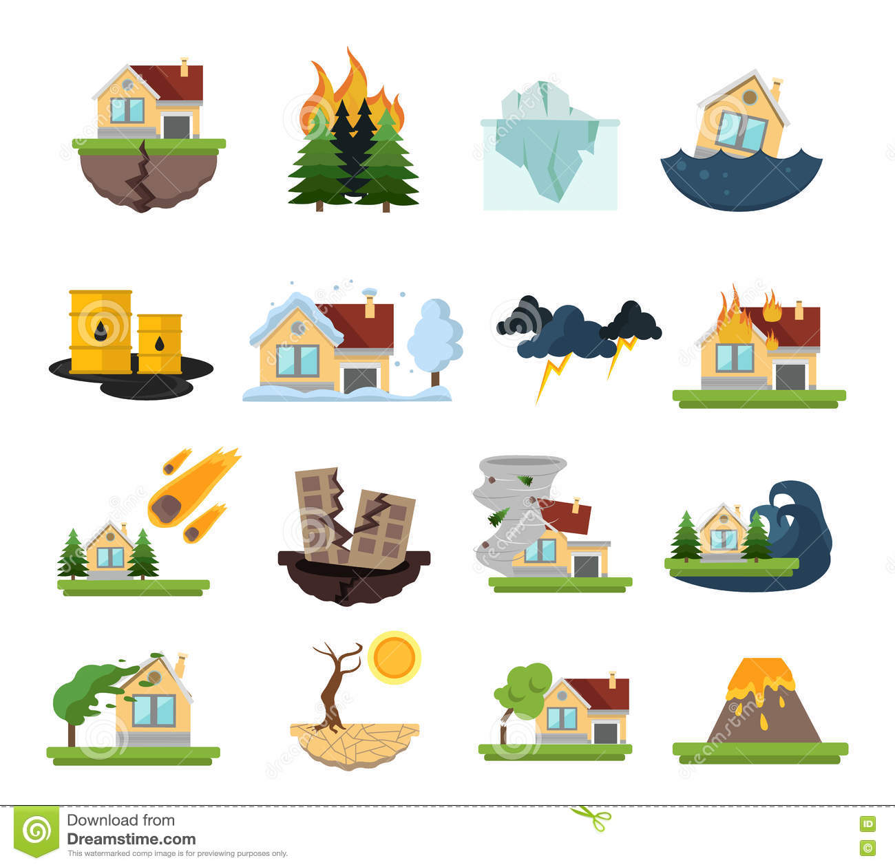 Disaster Damage Icon Set Stock Vector.