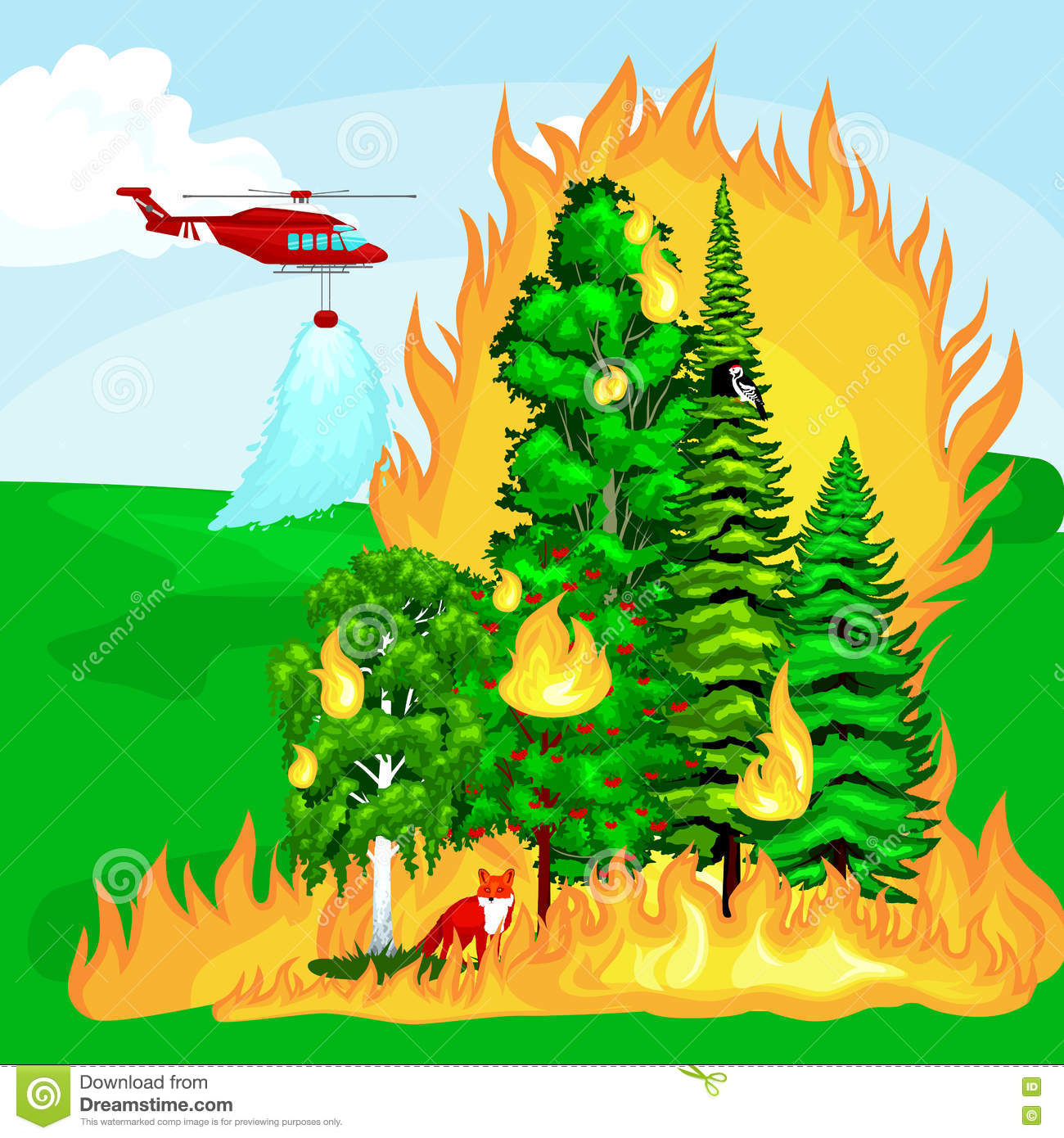 Forest Fire, Fire In Forest Landscape Damage, Nature Ecology.