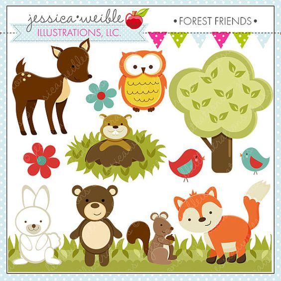 Forest Friends Cute Digital Clipart.