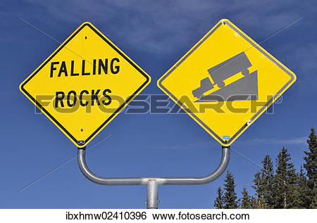 "Stock Images of ""Signs, falling rocks and steep decline, Highway."