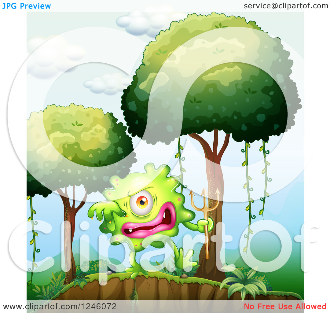 Clipart of a Green Monster Holding a Devil Trident in a Forest.