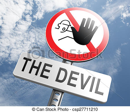Clipart of stop the devil or satan no sinning. No more evil or go.