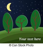 Clipart of Landscape, forest edge, summer night.