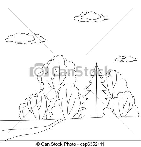 Clipart of Landscape, forest edge, contour.