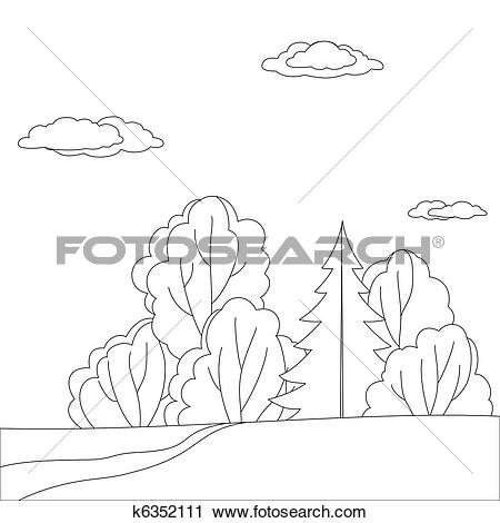 Clipart of Landscape, forest edge, contour k6352111.