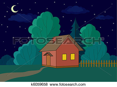 Clip Art of House on forest edge, night k6059658.