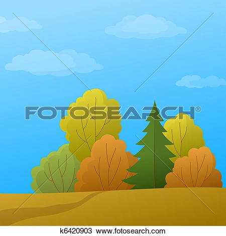 Drawing of Landscape, forest edge, autumn day k6420903.