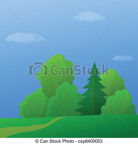 Vectors of Landscape, forest edge, summer day.