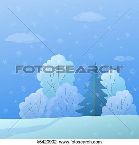 Clip Art of Landscape, forest edge, winter day k6420902.