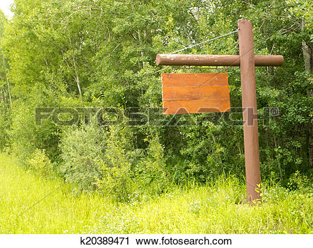 Stock Photography of Blank wooden sign board dense green forest.