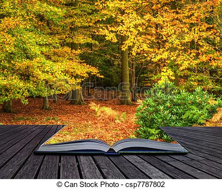 Clip Art of Vibrant Autumn Fall forest landscape coming out of.