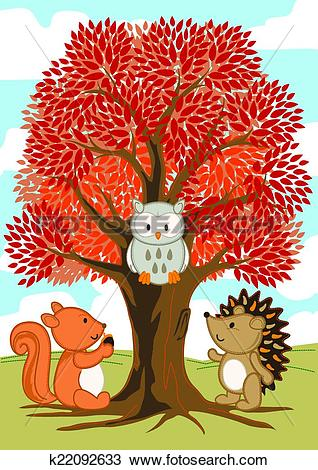 Clipart of Forest friends under a tree in fall k22092633.