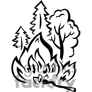Forest fire clipart black and white.