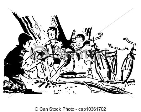 Stock Illustration of A black and white version of a group of boys.