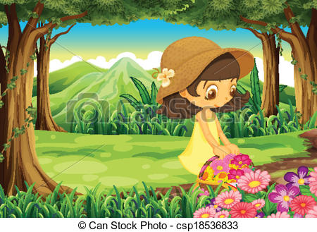 Vectors of A beautiful lady picking up the flowers in the forest.