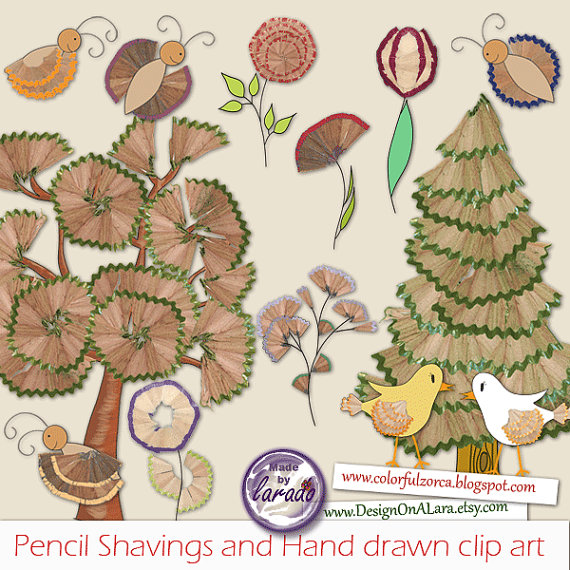 Pencil Shavings and Hand drawn clip art, Forest Trees Clipart.
