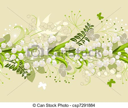 Vector Illustration of Seamless patten with forest flowers and.