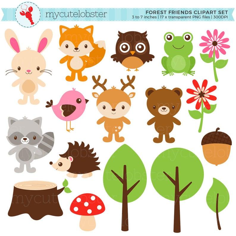 Forest Friends Clipart Set.