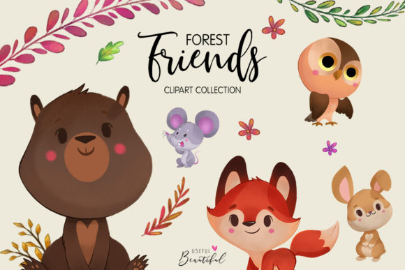 Forest Friends Clipart Collection 01.