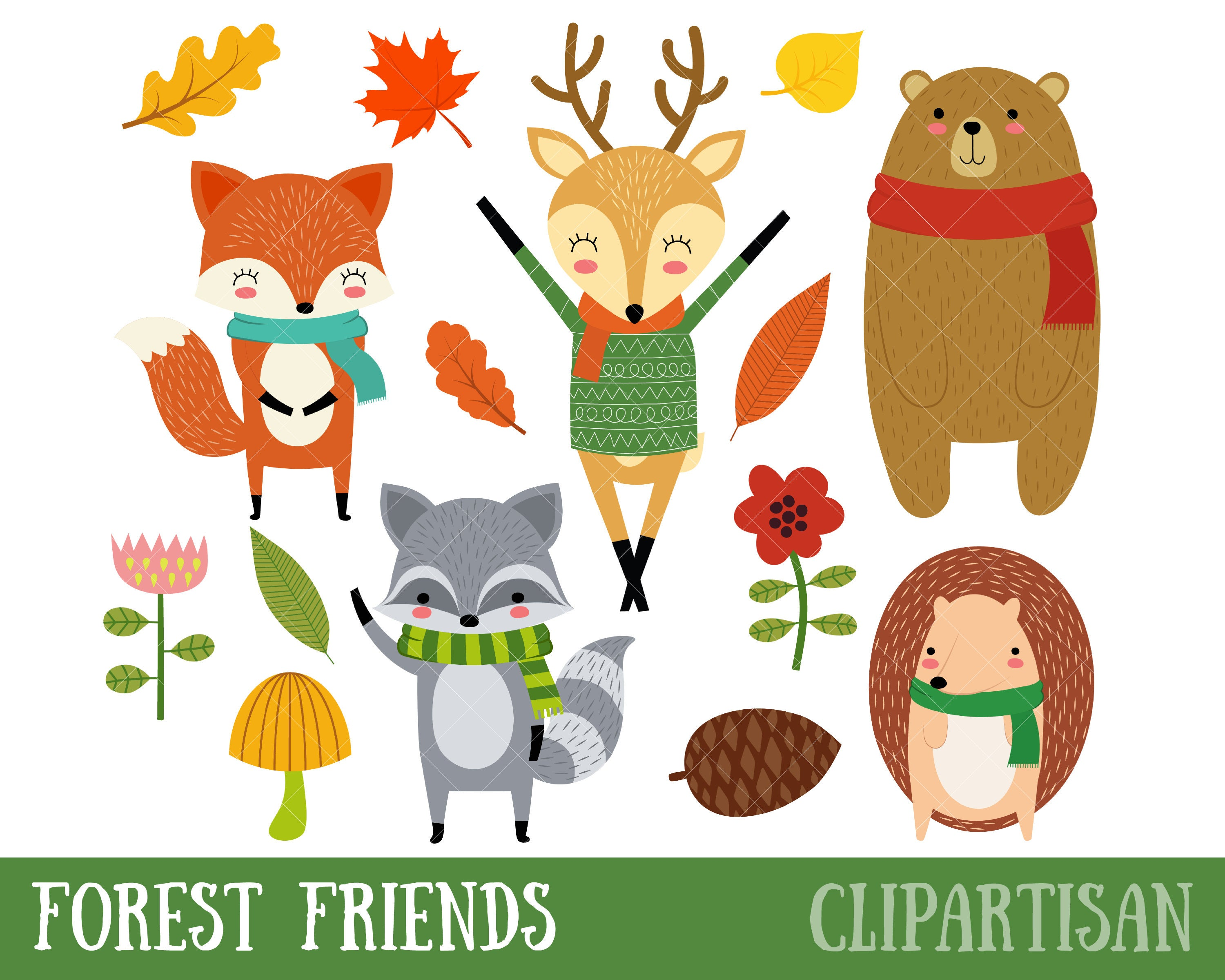 Forest Friends Clipart / Woodland Clipart / Cute Woodland Animals.