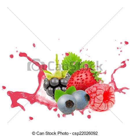 Stock Photographs of Forest fruit splash.