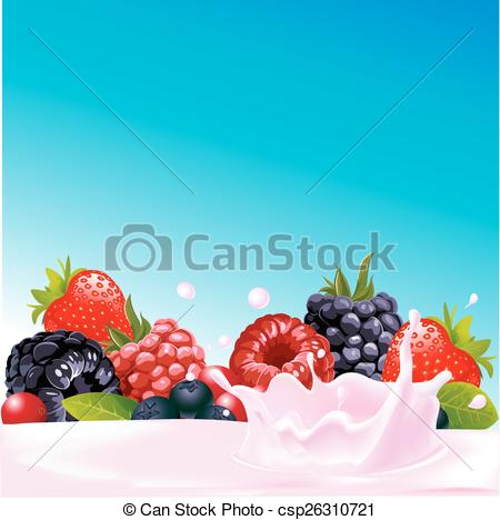 Vector Illustration of forest fruit with yogurt splash.