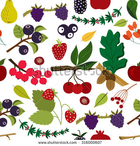 Colorful Seamless Pattern With Berries And Forest Fruits Stock.